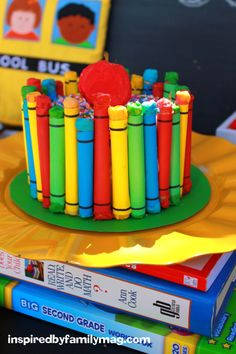 Easy back to school cake...and she's right!  It is way easier than it looks!