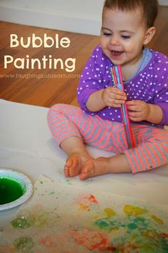 How to make bubble art with your children using a DIY bubble wand! Great fun for children.  www.laughingkidslearn.com