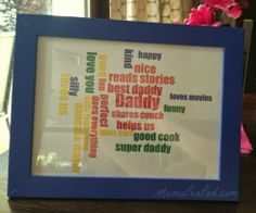Do you have a gift for Father's Day? Not to worry, this one can be ready 5 minutes from now! Really!  #MamaPeaPod {5 Minute Father's Day Gift: Daddy Word Cloud Tutorial}