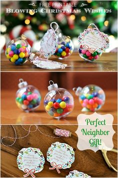 "DIY ""Blowing Christmas Wishes Your Way""Gift Idea With Free Printable.  Cute idea and super easy and inexpensive!"