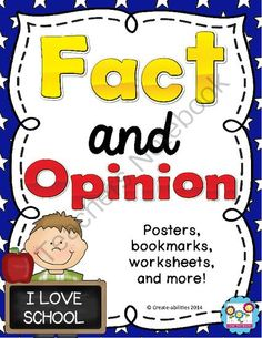 Fact and Opinion Printables, Bookmarks, Graphic Organizers: School Themed from Create abilities on TeachersNotebook.com -  (34 pages)  - Fact and Opinion Printables, Bookmarks, Graphic Organizers: School Themed