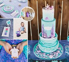 {Gorgeous Alert} This Under the Sea Inspired Ombre First Birthday is beautifully styled and crafted by Sugar and Soirees (with an amazing cake by Marinold Cakes + beautiful photos by Jessica Downey Photo)!  #FirstBirthday #Cake