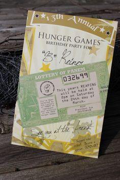 Hunger Games birthday invitation