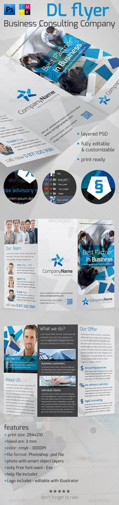 Corporate DL Flyer Vol.1  #GraphicRiver         Professional, elegant and clean DL flyer layout – 300 DPI, CMYK, 294×210, with bleed lines and guides include and enabled. All text layers are full and can be editable with the click of a button. File easy to use and edit (colours, fonts etc.), with a well organized PSD file. Fonts and pictures information include in a help file. If you like it, Please Rate It   font used in project Exo >  .fontsquirrel /fonts/exo?q%5Bterm%5D=exo&q%5Bsearch_check%5D=Y     Created: 29October13 GraphicsFilesIncluded: PhotoshopPSD Layered: No MinimumAdobeCSVersion: CS4 PrintDimensions: 294x210 Tags: aesthetic #blue #business #clean #corporate #customizable #design #dl #easy #editable #flyer #gray #modern #photoshop #poster #printready #products #template #white