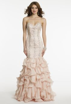 Chiffon and Satin Beaded Drop Waist Prom Dress by Camille La Vie