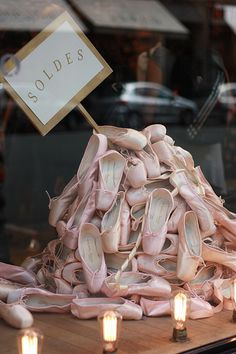 Window display of pink ballet slippers