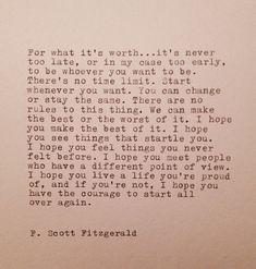 F. Scott Fitzgerald  Hand Typed Quote Made On Typewriter