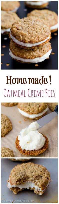 artifici, at home, oatmeal creme, bake, cooki, creme pie, eat, debbi oatmeal, dessert