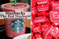 Starbucks Red Starburst Frappuccino! #StarbucksSecretMenu Recipe here: http://starbuckssecretmenu.net/starbucks-secret-menu-the-red-starburst/ Starbuck Secret, Starbucks Secrets, Secret Menu Starbucks, Starbucks Starburst, Starbucks Secret Menu