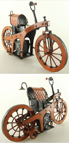 Tin Motorcycle Model - 1885 Benz - The World's First Motorcycle #steampunk