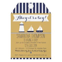 This tag baby shower invitation features a stencil like lighthouse and sail boats as well as a rope and white banner. The background is a paper bag brown and the top and base of the invitation is a white and navy blue striped background. I limited my use of color to three, navy blue, white and paper brown for effect. The invitation is ready to be personalized and is suitable as a boy's nautical baby shower invitation.
