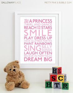 Baby Girl Nursery Art Print nursery decor kids wall art children nursery print baby gift typography poster Subway Playroom Rules Sign 11x14
