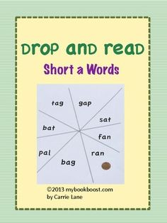 FREEBIE- game to practice short a cvc words (drop a penny or button onto game board and read the word)