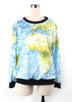 sweater, fashion, print sweatshirt, cloth, blue, world maps, long sleev, prints, map print