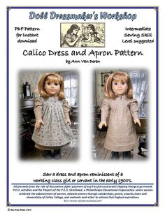 PDF Pattern for TurnoftheCentury style Calico Dress and Apron for 18 inch American Girl Dolls by AnnVanDorenDesigns via Etsy, $6.99