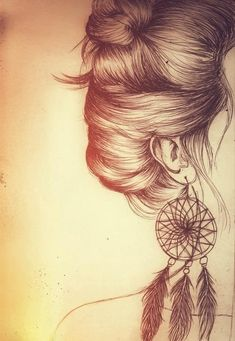 draw, hair , earing , dreamcather