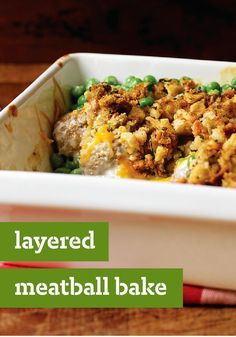 Layered Meatball Bake -- Meatballs and peas bake in a casserole topped with savory stuffing and melted Cheddar. This recipe is exactly as crowd-pleasing as it sounds.