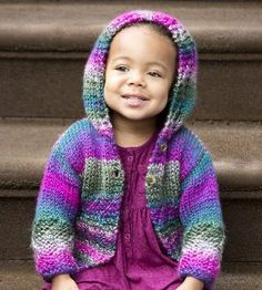 Free knit baby cardigan from Lion Brand: Easy Color Hoodie. This easy button up sweater is perfect for keeping little ones warm.