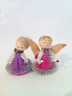 Vintage pink and purple angel wire ornaments cardboard gold Christmas