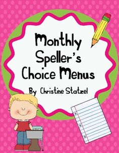 FREE- Are your students sick of the same old spelling homework each night?  Free Speller's choice menu for homework.