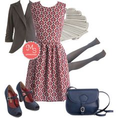 In this outfit; Fête at the Foothills Dress, Fine and Sandy Blazer in Stone, Vogue Verve Necklace, Layer it on Tights in Light Grey, Smart on Your Feet Heel, Shop to It Bag (Similar Style) #workappropriate #falltrends #printdresses