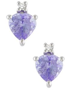 10K White Gold Diamond & Tanzanite Heart Stud Earrings