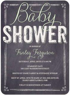 Baby Board - Baby Shower Invitations - Sarah Hawkins Designs - Wasabi Green with chalkboard design #baby #TopPin