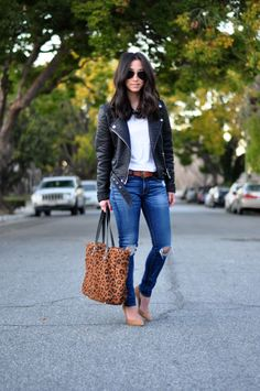 Ripped Jeans + Leather Jackets