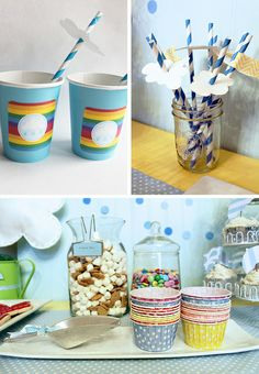 April Showers party theme...love the cloud straw toppers!