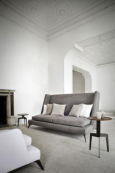 Grey high back modern wing sofa
