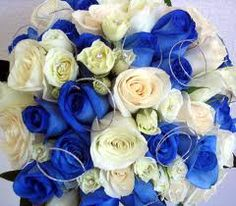 white flower, bridal bouquets, blue flowers, white rose, white bouquets, something blue, blue weddings, bride bouquet, blue roses