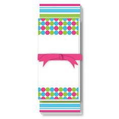 Hot Pink, Green and Turquoise Dots and Stripes Note Pad Set!