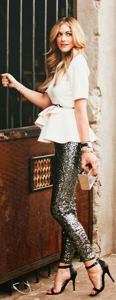 Sequin pants and peplum top