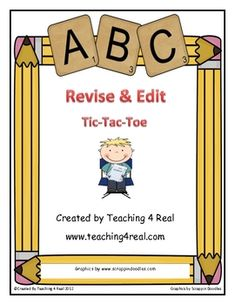 Writing Common Core 4.W.5  Production and Distribution of Writing.....    Revising and Editing can be a very difficult task for most students. These 2 tic-tac-toe Revise & Edit Task Boards make it fun and meaningful.  $2.50