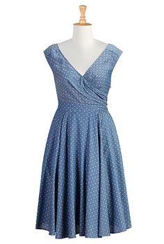 I polka dots, dot chambray, chambray dress