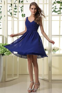 Description: Short, blue chiffon dress for bridesmaids and special occasions; simple ruched bodice with V neckline. Stunning cute bridesmaid dress of 2013 summer style (*Note: Only dress included in sell, any accessory in photo is not included unless in hints). This dress is suitable for bridesmaids, wedding parties, homecoming, evenings and any other special occasion. Fabric: Chiffon <… Wedding Parties, Royal Blue Bridesmaid Dresses, Kneelength Chiffon, Knee Length, Aline Vneck, Royal Blue Bridesmaids, Chiffon Dresses, Shorts Royal, Bridesmaid Dresses Shorts Blue