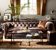 A leather sofa only gets better with time- LOVE this one!