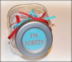 Great idea - jar filled with ideas for when the kids say they are bored.  Fun things and not so fun things.