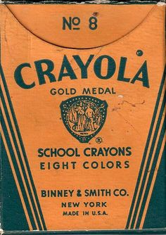 "Setting the record straight thru Art Education - Research this true fact: Among the original 8 colors of crayons introduced in 1905 was a crayon ""Named"" PURPLE (Violet).  Why was this new word PURPLE used for the color Violet? A mystery for ""Harold and his _ -_-_-_-_-_ Crayon"" to solve. Old Schools, Childhood Memories, Colors Book, Crayola Crayons, Vintage, Covers Boxes, Boxes Art, Art Education, Schools Stores"