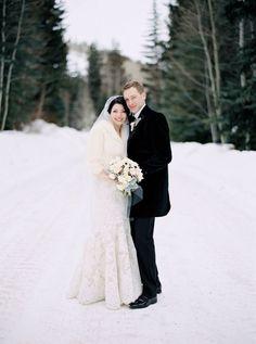 A chic bride & groom