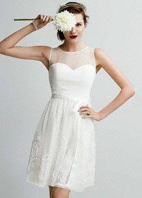 Short, airy and sweet: this wedding dress draws romantic appeal! Style EJ4M5197 #DBStudio #DavidsBridal #Spring2014
