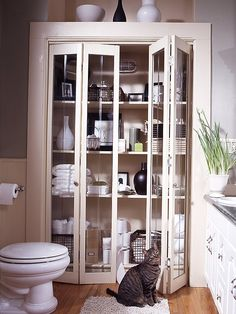 built in bathroom storage