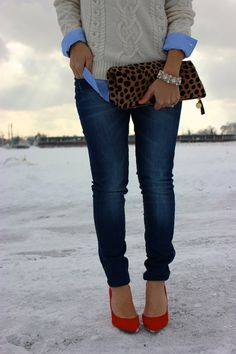 Leopard clutch and red pumps #MyFashAvenue