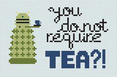 canadian/british dalek. haha.    You Do Not Require TEA  Dalek  Cross by WibblyWobblyStitches, $4.00