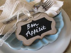 Chalkboard tags-amazing for dinner parties