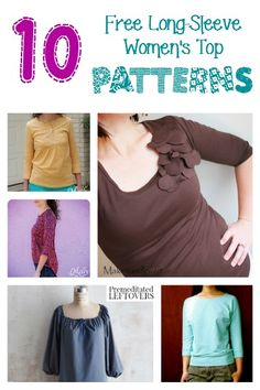 10 free womens long sleeve top patterns