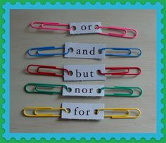 I love this idea: Teaching sentence structure with five conjunctions and clips