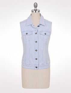 $30  Striped Stretch Denim Vest   cotton