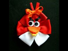 Angry Birds inspired hair bow tutorial (how to make hairbow) - YouTube