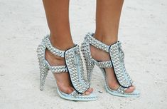 Givenchy studded sandals. studs, shoes, blue, givenchy, givenchi stud, street styles, rock, sandal, heels
